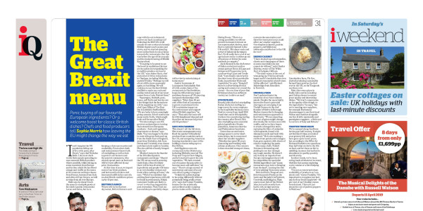 Newspaper spread of The Great Brexit Menu in the i Paper