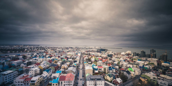 Wide view of Reykjavik with stormy clouds